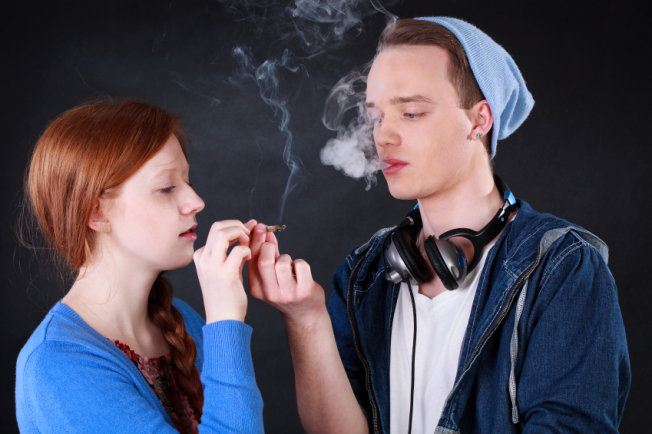 teens smoking weed